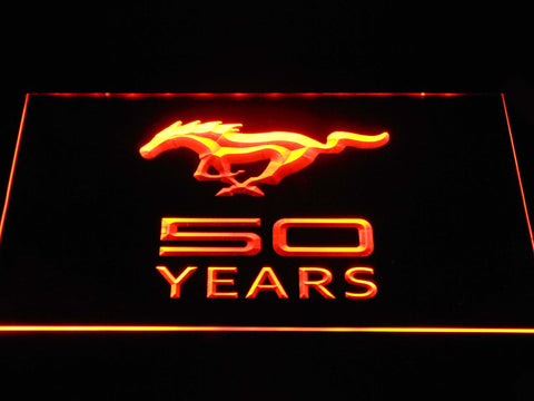 Image of Ford Mustang 50 Years LED Neon Sign - Orange - SafeSpecial