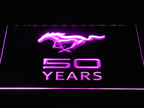Image of Ford Mustang 50 Years LED Neon Sign - Purple - SafeSpecial