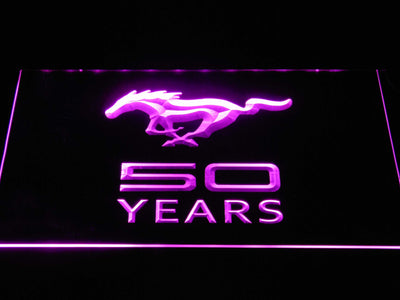 Ford Mustang 50 Years LED Neon Sign - Purple - SafeSpecial