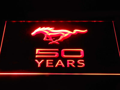 Ford Mustang 50 Years LED Neon Sign - Red - SafeSpecial