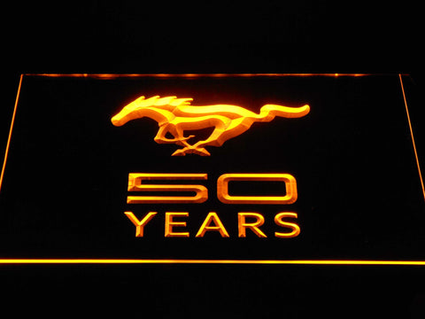 Image of Ford Mustang 50 Years LED Neon Sign - Yellow - SafeSpecial