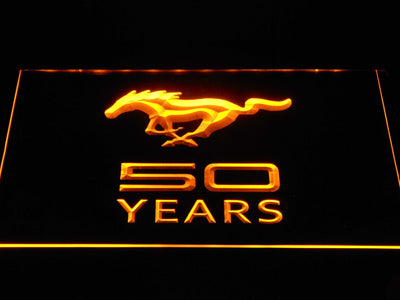 Ford Mustang 50 Years LED Neon Sign - Yellow - SafeSpecial