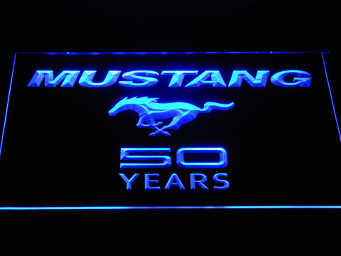 Image of Ford Mustang 50 Years Wordmark LED Neon Sign - Blue - SafeSpecial