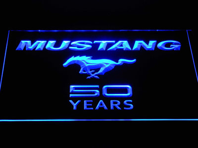 Ford Mustang 50 Years Wordmark LED Neon Sign - Blue - SafeSpecial