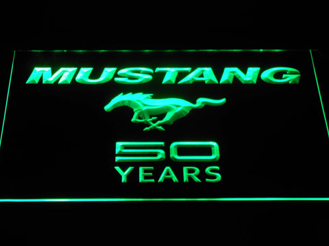 Image of Ford Mustang 50 Years Wordmark LED Neon Sign - Green - SafeSpecial