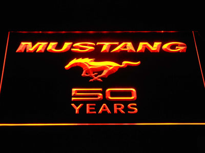 Ford Mustang 50 Years Wordmark LED Neon Sign - Orange - SafeSpecial