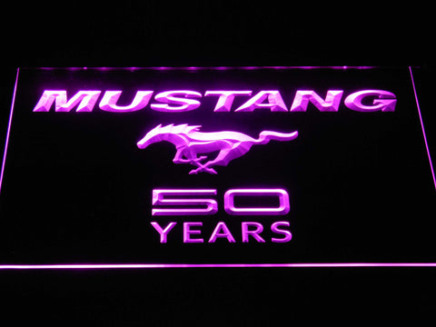 Image of Ford Mustang 50 Years Wordmark LED Neon Sign - Purple - SafeSpecial
