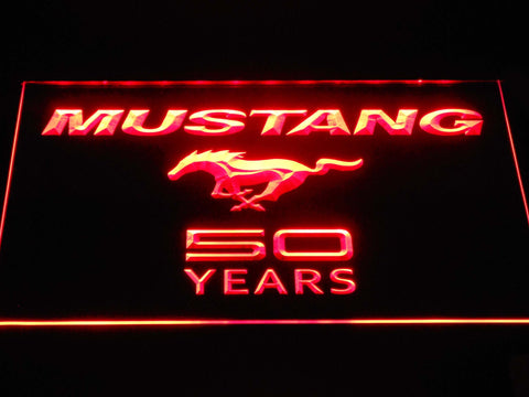 Image of Ford Mustang 50 Years Wordmark LED Neon Sign - Red - SafeSpecial