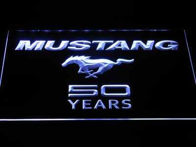 Ford Mustang 50 Years Wordmark LED Neon Sign - White - SafeSpecial