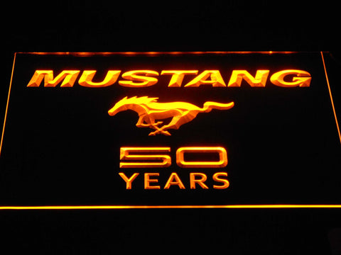 Image of Ford Mustang 50 Years Wordmark LED Neon Sign - Yellow - SafeSpecial