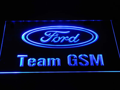 Ford Team GSM LED Neon Sign - Blue - SafeSpecial