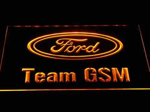Image of Ford Team GSM LED Neon Sign - Yellow - SafeSpecial