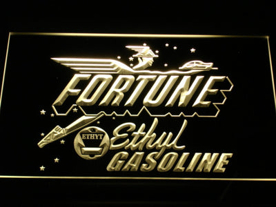 Fortune Ethyl Gasoline LED Neon Sign - Yellow - SafeSpecial