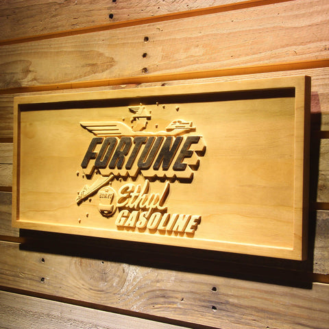 Image of Fortune Ethyl Gasoline Wooden Sign - - SafeSpecial
