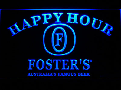 Foster's Happy Hour LED Neon Sign - Blue - SafeSpecial