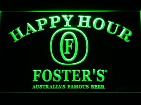 Image of Foster's Happy Hour LED Neon Sign - Green - SafeSpecial