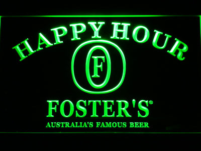 Foster's Happy Hour LED Neon Sign - Green - SafeSpecial