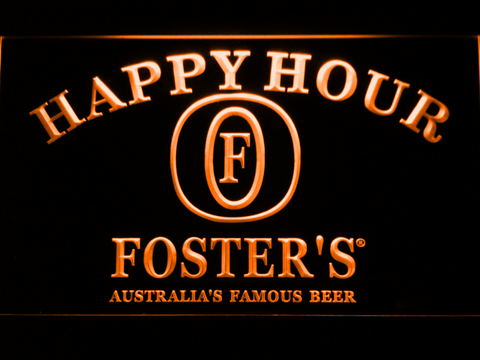 Image of Foster's Happy Hour LED Neon Sign - Orange - SafeSpecial