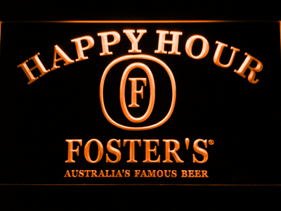 Foster's Happy Hour LED Neon Sign - Orange - SafeSpecial