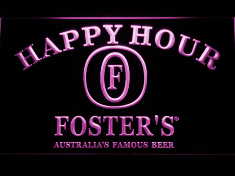 Image of Foster's Happy Hour LED Neon Sign - Purple - SafeSpecial