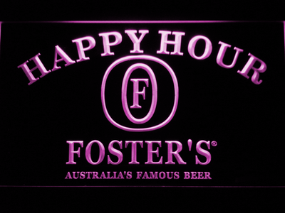 Foster's Happy Hour LED Neon Sign - Purple - SafeSpecial