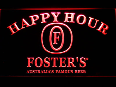 Foster's Happy Hour LED Neon Sign - Red - SafeSpecial