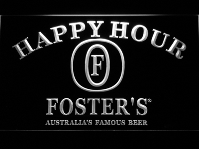 Foster's Happy Hour LED Neon Sign - White - SafeSpecial