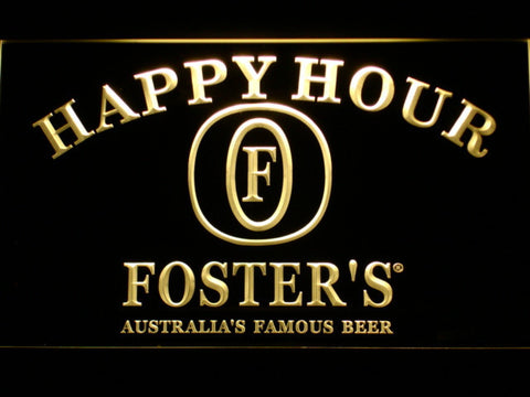 Image of Foster's Happy Hour LED Neon Sign - Yellow - SafeSpecial