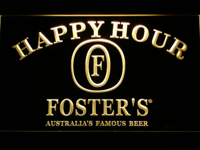 Foster's Happy Hour LED Neon Sign - Yellow - SafeSpecial