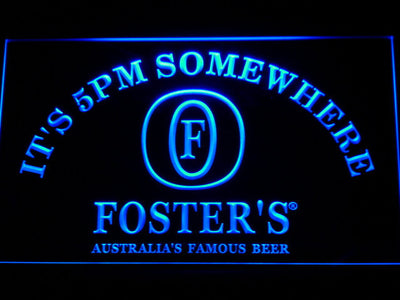 Foster's It's 5pm Somewhere LED Neon Sign - Blue - SafeSpecial
