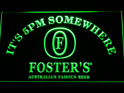 Foster's It's 5pm Somewhere LED Neon Sign - Green - SafeSpecial