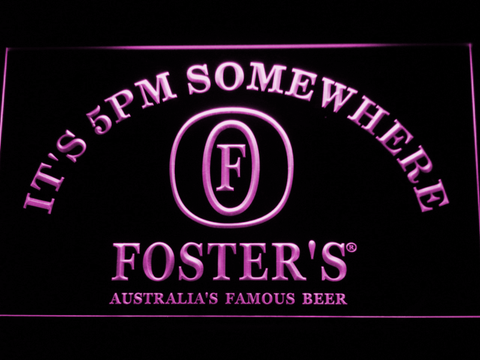 Foster's It's 5pm Somewhere LED Neon Sign - Purple - SafeSpecial