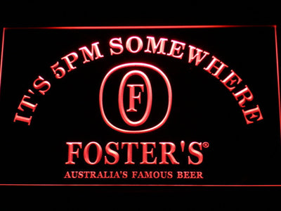 Foster's It's 5pm Somewhere LED Neon Sign - Red - SafeSpecial