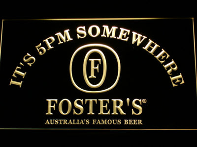 Foster's It's 5pm Somewhere LED Neon Sign - Yellow - SafeSpecial