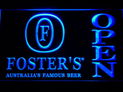 Foster's Open LED Neon Sign - Blue - SafeSpecial