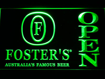 Foster's Open LED Neon Sign - Green - SafeSpecial