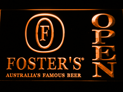 Foster's Open LED Neon Sign - Orange - SafeSpecial