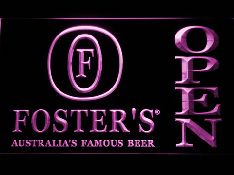 Image of Foster's Open LED Neon Sign - Purple - SafeSpecial