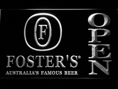 Foster's Open LED Neon Sign - White - SafeSpecial