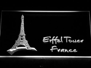 France Eiffel Tower LED Neon Sign - White - SafeSpecial