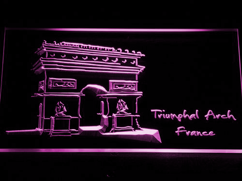 Image of France Triumphal Arch LED Neon Sign - Purple - SafeSpecial