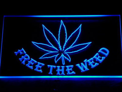 Free the Weed LED Neon Sign - Blue - SafeSpecial