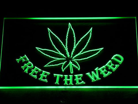 Free the Weed LED Neon Sign - Green - SafeSpecial