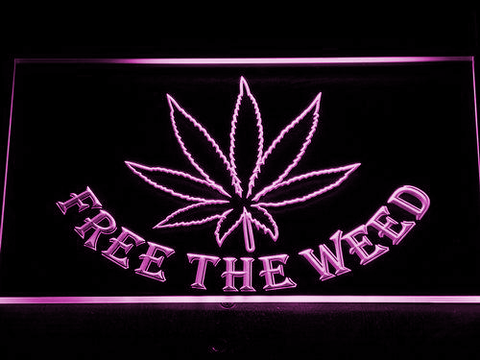 Image of Free the Weed LED Neon Sign - Purple - SafeSpecial