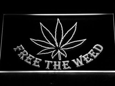 Free the Weed LED Neon Sign - White - SafeSpecial