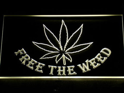 Image of Free the Weed LED Neon Sign - Yellow - SafeSpecial