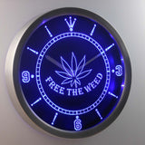 Free the Weed LED Neon Wall Clock - Blue - SafeSpecial