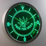 Free the Weed LED Neon Wall Clock - Green - SafeSpecial
