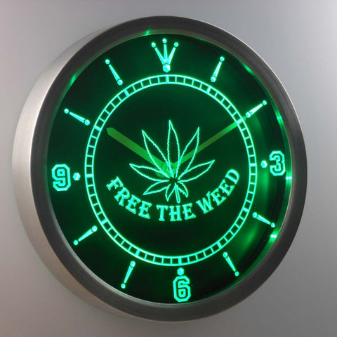 Image of Free the Weed LED Neon Wall Clock - Green - SafeSpecial