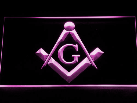 Freemasonry LED Neon Sign - Purple - SafeSpecial